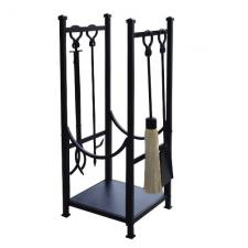 Black Wrought Iron Log Rack with Fireplace Tools  TOP CHOICE