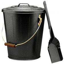 Black Fireplace Ash Bucket and Shovel Set