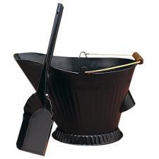 Black Fireplace Hod and Shovel Set