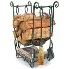 Minuteman LCR07 Country Wood Holder with Fireplace Tools