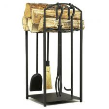 Mission I Wood Holder with Fireplace Tools TOP CHOICE