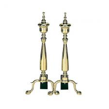 Solid Brass Urn Fireplace Andirons