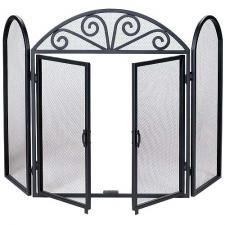 "Wrought Iron Fireplace Screen With Doors - 52"" Wide x 32"" High"
