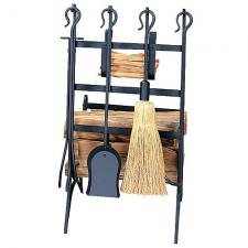 Black Log Rack with Fireplace Tools