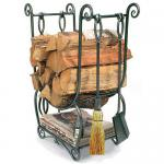 View: Minuteman LCR07 Country Wood Holder with Fireplace Tools