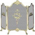 """View: Uniflame s-9099 Solid Brass Fire Screen -  41"""" Wide x 31"""" High"""